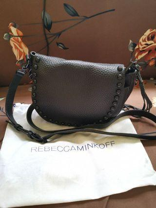 Rebecca Minkoff Pebbled Leather Studded Saddle Bag, Black