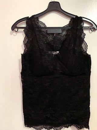 Brand new Japanese brand Aunt Marie black lace tank top with padding