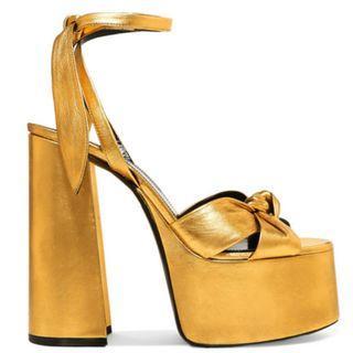 SAINT LAURENT Paige metallic leather platform sandals (NP)