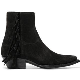 SAINT LAURENT Lukas distressed fringed suede ankle boots (NP)