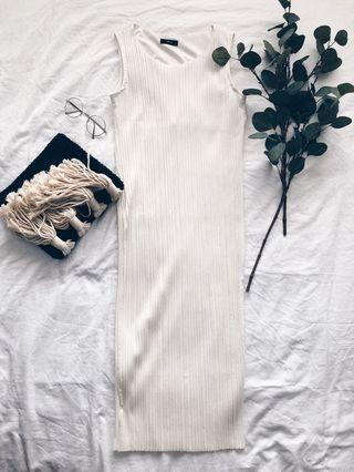 White Pleated Shift Dress