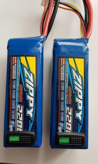 4S lipo 220mah 14.8V batteries x 2