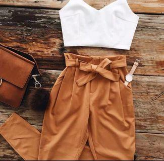 (NEW) Two Piece Suit White Top & Brown Pants