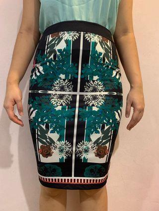 Floral/ Tropical midi skirt