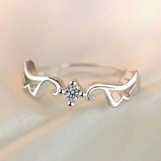 Women Angel Wing Diamond Ring Adjustable free size