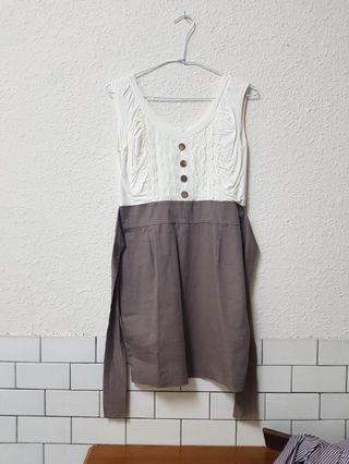 🚚 品牌假兩件式綁帶洋裝