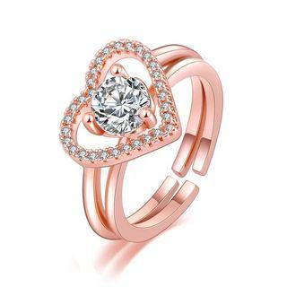 Heart diamond women rings adjustable free size 2 in 1 can separate