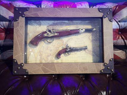 replica antique guns with frame