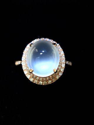 18k金玻璃種翡翠戒指(附証書)
