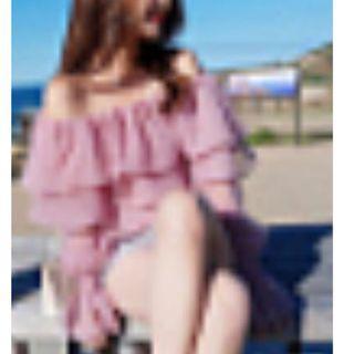 Korean off shoulder pink top free size