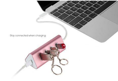 🚚 dodocool USB Type-C to 4-Port USB 3.0 Hub Adapter with USB-C Charging Port PD