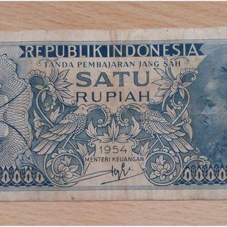 An Indonesia Currency Banknote of 1 Rupiah Year 1954