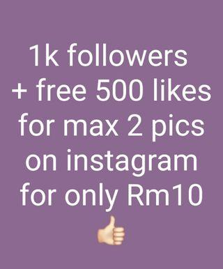 1k followers + Free likes on instagram
