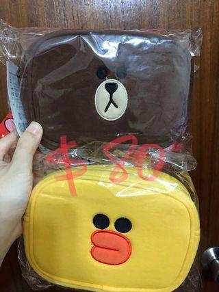 Line friends 化妝袋 Brown Sally