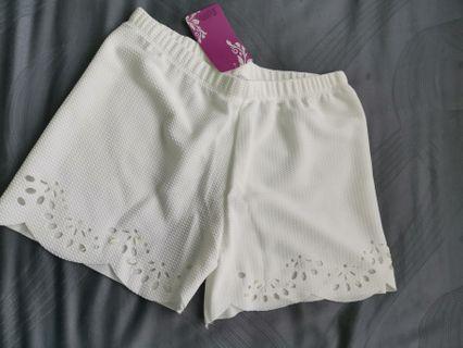 White laser cut safety shorts