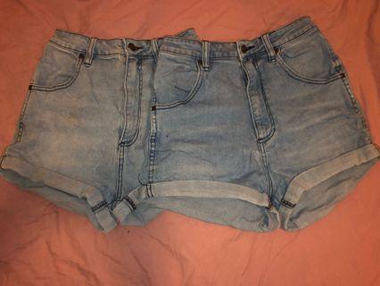 High waisted wrangler denim shorts