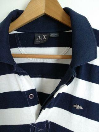 AX Armani Exchange Metal Logo Striped Polo Shirt Long Sleeve