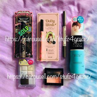 Dolly Wink Liquid Eyeliner Extreme Black / Miniso Perfect Waterproof Eyebrow Pencil / Liese Hair Light Flow Jelly Moving Styling Gel / Cezanne Mix Cheek Colour / Kate Kanebo Blusher