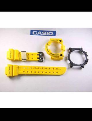 100% Authentic Brand new rare Casio G-Shock 30th Anniversary Lighting Yellow Frogman GWF-T1030E-1JF Band Bezel & Rear back cover Set