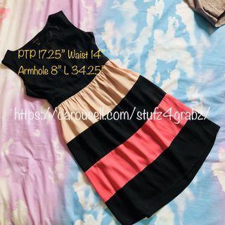 $9.90 or Buy2Get1Free Little Match Girl Colourblock Dress Black Pink Beige