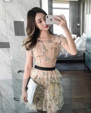 Self portait inspired star mesh dress