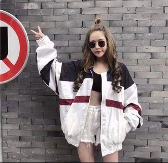 🚚 White Bomber Windbreaker Jacket
