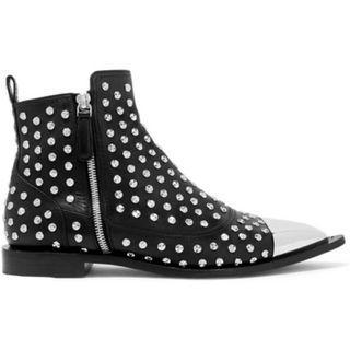 Alexander McQueen Metal-trimmed studded leather ankle boots (NP)