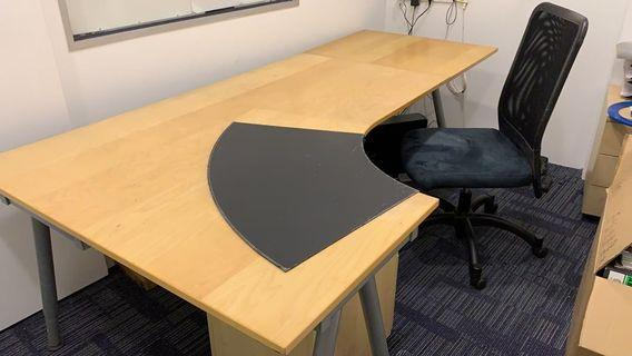 Office work desk with chair and cabinet
