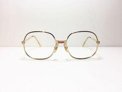 80s 法國製 MARIUS MOREL Eyewear 法國貓牌復古老眼鏡 金色方形大邊框 八零老品 古著 54-18, 1980s French eyewear brand, made in France.