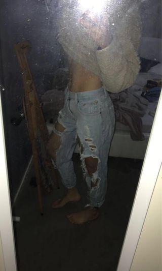 extreme ripped/distressed boyfriend jeans #swapau