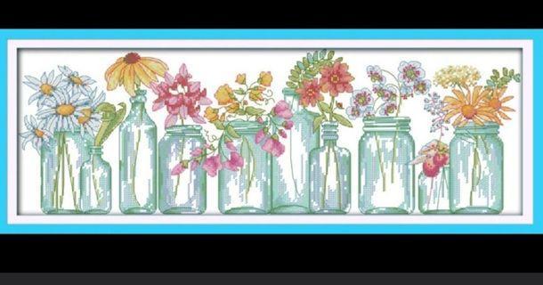 🚚 Flower Vase Cross stitch kit