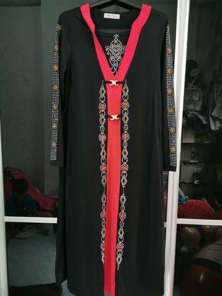 🚚 Red / Black Long Dress (Free Size)