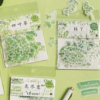[PO] nature green leaves sticker packet