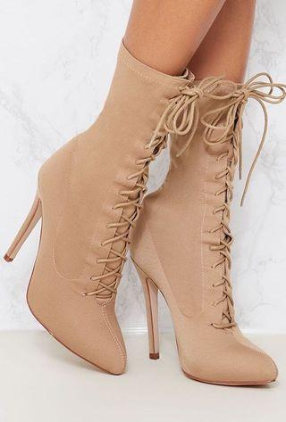 Nude lace up sock boots
