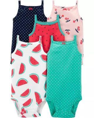 Brand New Instock Carter's 5 Pc Sleeveless Tank Bodysuits Onesies Rompers Set Girls