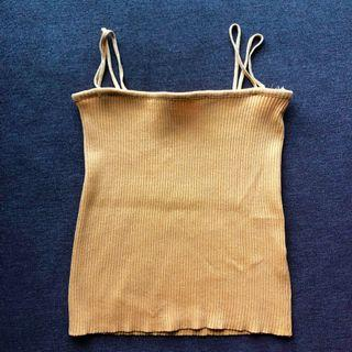 ribbed tank top in mustard
