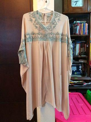 Cream tosca beads loose party blouse