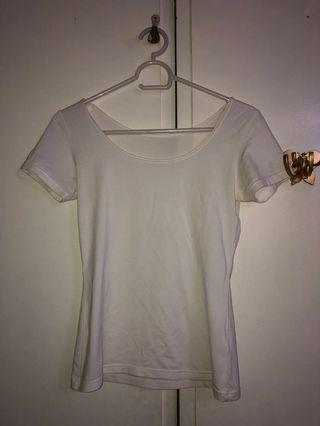 Plain white fitted scoop neck top