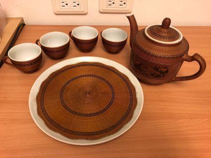 藤編裝飾陶瓷茶壺杯盤組 (大)
