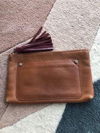 Massimo Dutti tassel leather clutch