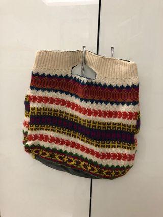 🚚 [奇怪的孩子]古著內裡皮質彩色針織手提包