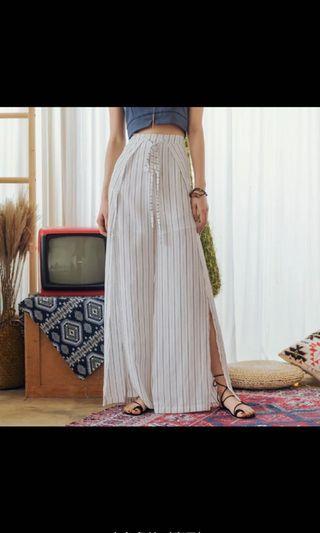 波西米亞風 白色高叉長褲