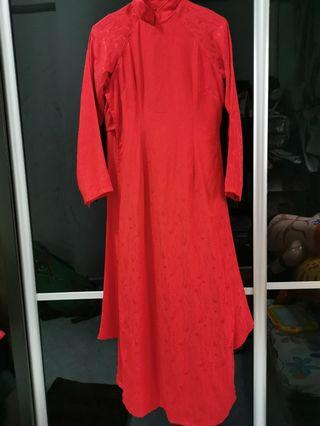 🚚 Red Baju Kurung ala Cheongsam Style with Pants