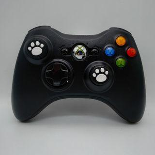 Xbox 360 Wireless Black Controller with Two New White Cat Paw Silicone Thumbstick  a new Battery Pack