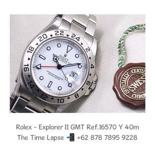 Rolex - Explorer II GMT, White Dial Ref.16570 'Y' 40m (New Old Stock)