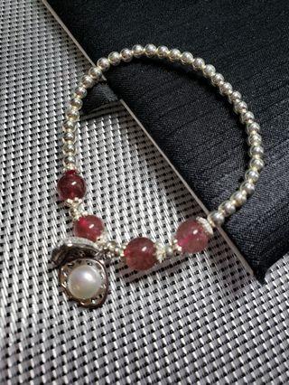 晶石銀手串/草莓晶/No.1503
