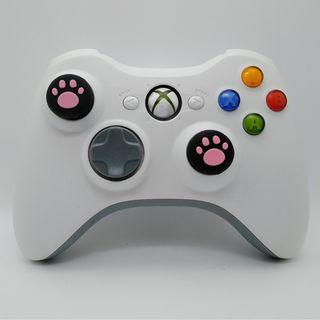 Xbox 360 Wireless White Controller with Two New Pink Cat Paw Silicone Thumbstick  a new Battery Pack