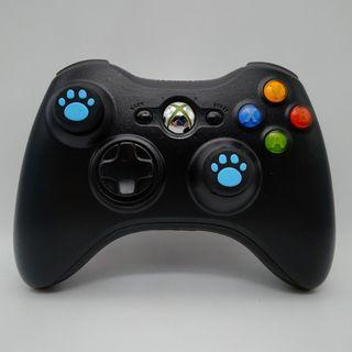 Xbox 360 Wireless Black Controller with Two New Blue Cat Paw Silicone Thumbstick  a new Battery Pack
