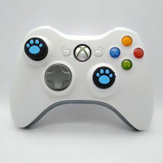 Xbox 360 Wireless White Controller with Two New Blue Cat Paw Silicone Thumbstick  a new Battery Pack