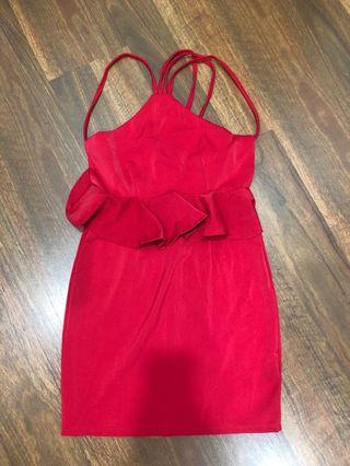 Three different bare back red dress